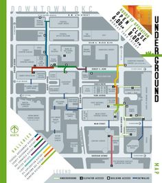 Follow the map below to visit the colored sections and to navigate through the tunnel system.