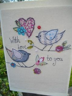 Items similar to Mothers Day Card, Handmade card, Textile stitched card on Etsy Embroidery Cards, Free Motion Embroidery, Hand Embroidery, Fabric Postcards, Fabric Cards, Freehand Machine Embroidery, Free Machine Embroidery, Applique Patterns, Sewing Appliques