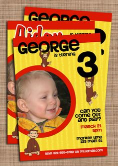 Curious George Birthday Custom Photo by upallnightdesigns on Etsy, $10.00