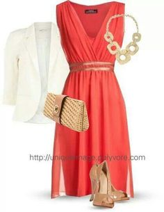 Love the dress with the white jacket, jewelry and shoes. Perfect.