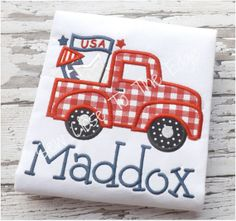 Custom Boys 4th of July Patriotic Retro Truck T-Shirt - Kids Personalized Shirts - Boy - Toddler Youth