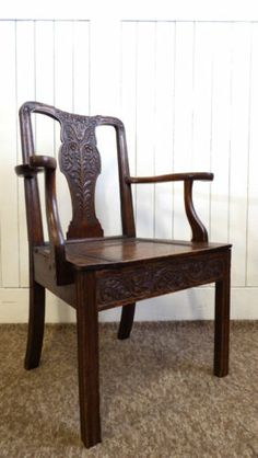 Antique Victorian carved oak arm / desk chair