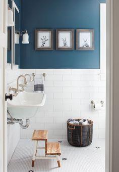 white subway tile + blue accents