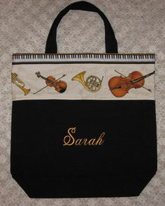 Strings & Brass Personalized music bag symphonic band orchestra cello violin french horn saxophone trumpet lesson recital book bag. $16.75, via Etsy.