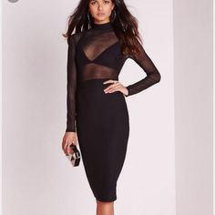 Sheer Mockneck Midi Dress mixed midi dress w a solid mock neck, a sheer mesh top with long sleeves, a hidden rear zipper for easy on and off, and a solid pencil skirt. Cheaper thru ️ay️al Dresses Midi