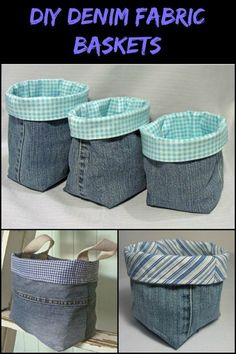 These DIY denim fabric baskets are so easy to make that you can even sew them by hand . UPCYCLING IDEAS These DIY denim fabric baskets are so easy to make that you can even sew them by hand …, denim baskets denim DIY diybracelets diycandl Diy Denim, Artisanats Denim, Recycled Denim, Denim Fabric, Denim Quilts, Denim Purse, Jean Crafts, Denim Crafts, Upcycled Crafts