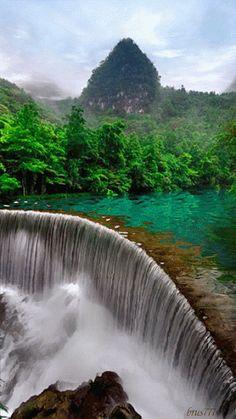Xiaoqikong Waterfall in the Guizhou province of China | Nature gif, Asia Adventure Travel