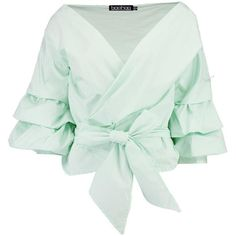 Boohoo Emily Ruffle Sleeve Woven Blouse ($40) ❤ liked on Polyvore featuring tops, blouses, shirts, off the shoulder crop top, ruffle sleeve blouse, cami crop top, green kimono and green top