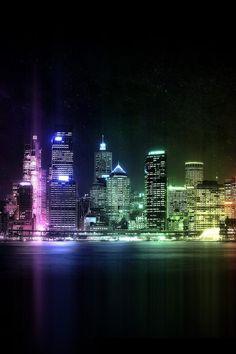 Lit up Manhattan skyline