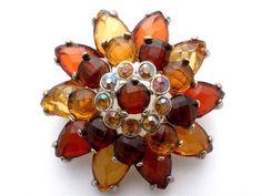 Vintage Amber Topaz Rhinestone Brooch Flower Estate Pin Silver Tone Layered Estate Pin