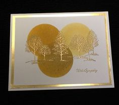 handmade card: Lovely as a Tree Sympathy ... three overlapping sponged circles in sand colors .... gold embossed trees ... gold foil mat ... Stampin' Up!