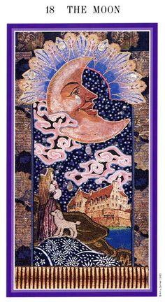 August 9 Tarot Card: The Moon (Zerner Farber deck) Holding on to fears and regrets from the past will stifle you in the present and future. Don't assume you know what will happen now ~ listen to your spiritual instincts and intuitions, not your anxieties
