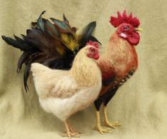 Special listing for Dianna  needle felted rooster and hen