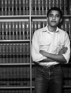 Hot future president with law books.