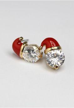 Crystal Christmas Cap Earrings
