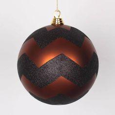 Vickerman Copper (Brown) Matte with Black Glitter Chevron Christmas Ball Ornament 8 (200mm)
