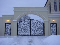 50 The Best Gate Design That You Have to Try in Your Home - decortip House Main Gates Design, Front Gate Design, Door Gate Design, House Design, Front Gates, Entrance Gates, Gate Designs Modern, Steel Gate Design, Pillar Design