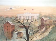 """""""Ohio Legacy"""" by P. Buckley Moss. Released October, 2003, for the P Buckley Moss Collectors' Convention in Dayton, Ohio. Image Size: 20-11/16 x 28-3/16 ins. Rare Print: $250.  Canada Goose Gallery in Waynesville, Ohio.  513-897-4348."""