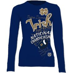 Notre Dame Fighting Irish 2013 Ladies BCS National Championship Game Bound Long Sleeve T-Shirt - Navy Blue#Fanatics
