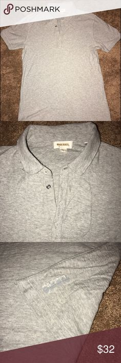 Diesel Polo Shirt Diesel 100% Cotton Classic Polo Shirt, Men's Size Small, in gray. Cool rough stitch design. In great condition! Coming from a clean and smoke-free home Diesel Shirts Polos