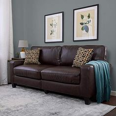 Shop a great selection of Serta RTA Palisades Collection 78 Bonded Leather Sofa Chestnut Brown. Find new offer and Similar products for Serta RTA Palisades Collection 78 Bonded Leather Sofa Chestnut Brown. Dark Brown Leather Sofa, Brown Leather Couch Living Room, Grey And Brown Living Room, Leather Sofas, Brown Sofa Grey Walls, Dark Brown Couch, Living Room With Brown Sofa Ideas, Brown Brick, Leather Fabric
