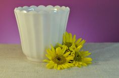 Vintage White Milk Glass Planter  Fantastic by ClassicCabin