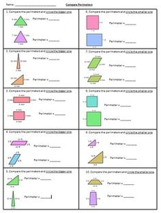MN Math Standard: 3.3.2.2 Find the perimeter of a polygon by adding the lengths of the sides.Often times students are asked to find the perimeter of a shape. On more challenging state tests, students are asked to compare the perimeter of two shapes. This worksheet provides practice to find the perimeter, and goes one more step by asking students to circle which one is bigger.