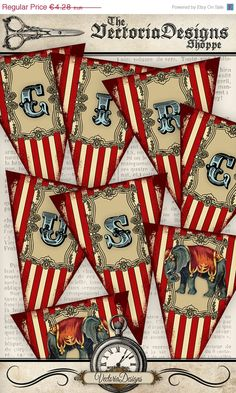 Printable Circus Banner Bunting party banner by VectoriaDesigns Vintage Circus Party, Circus Carnival Party, Circus Theme Party, Circus Wedding, Carnival Birthday Parties, Carnival Themes, Circus Birthday, Vintage Carnival, Party Themes