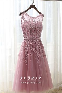 efa01e2f2f Pastel pink lace and tulle cute short homecoming dress. Illusion neckline
