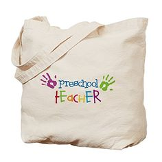 CafePress  Preschool Teacher Tote Bag  Natural Canvas Tote Bag Cloth Shopping Bag ** (This is Amazon Affiliate Link) See this great product.