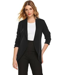 4c30eba2330 Black Womens Lightweight Thin Ruched Sleeve OpenFront Blazer Work Office  Suit Jacket   Click image for more details.-It is an affiliate link to  Amazon.