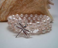 Memory Wire Bracelet  Dragon Fly Charm  Pink by HotShotDesigns, $12.25
