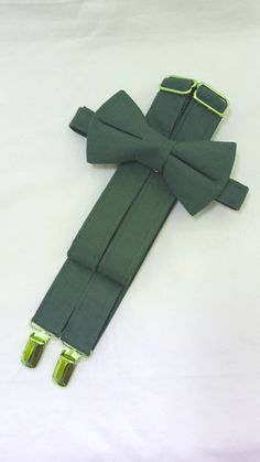 Juniper Green Suspenders and Juniper Green Bow Tie. Bridal Color Juniper. Sizes Infant-Adult. Free Fabric Sample Available.