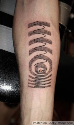 When Gordie Cavill won 2 hours worth of tattooing in a Facebook contest he decided he wanted something geeky. Passing up the normal dopamine and serotonin tattoos, as well as the equations and other common geeky tattoos, he decided on a graphical representation of the Doppler effect.