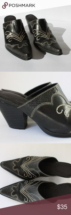 """Cowboy Boot Style Mules Size 6.5 So cute! In love with these vintage style western mules with a low/medium heel.  Fit: - Women's size 6.5, can also fit 6 - Approximately 2.5"""" heel  Materials: - Man made - Cloth lined sole Shoes Mules & Clogs"""