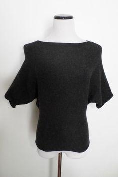 Cynthia Rowley Dark Gray Wool Dolman Sweater Size S #CynthiaRowley #BoatNeck