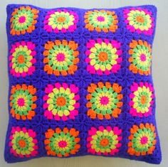the neon colors in royal blue edging granny square cushion cover / pillow cover