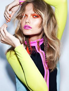 Turn up the brights with matching make-up!