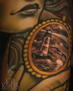"""""""What to put in her brosch? Eazy, let's do a single needle lighthouse in a storm, with seagulls and sunset."""" Love the contrast it gives to big color shapes. Thanks Nikola Sunset Love, Color Shapes, Lighthouse, Ink, Let It Be, Instagram Posts, Contrast, Tattoos, Bell Rock Lighthouse"""
