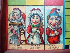 Original Wood Framed Game Board ~ Punch & Judy 1890 stock n. 9400.1