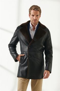 CHARLES Men Casual Tobacco Brown Shearling Coat Black Noble   Luxury Shearling Black Shearling Coat, Mens Shearling Jacket, Suede Jacket, Leather Jacket, Leather Men, Men Casual, Luxury, Stylish, Brown