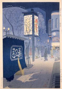 """""""笠松紫浪「春の夜 銀座」1934年(昭和9)""""    Ginza, a central shopping district of Tokyo responsible for much of Showa culture, in 1934."""
