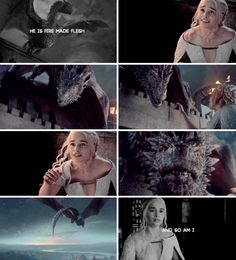 """""""Drogon was perched up atop the pyramid, in the place where the huge bronze harpy had stood before she had commanded it to be pulled down. He spread his wings and roared when he spied her."""""""
