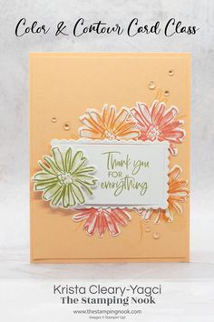 Stampin' Up! Color & Contour Thank You Card in the Lovely Pale Papaya Leaf Images, Flower Images, Outline Images, Color Contour, Ink Stamps, Tape Crafts, Card Tutorials, Ink Pads, Colorful Flowers