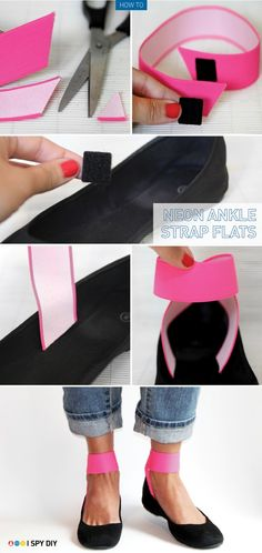 I Spy DIY: [MY DIY] Neon Strap Flats. Definitely, want to try this w heels. I love ankle straps! So flattering. Ankle Strap Flats, Ankle Straps, Shoe Makeover, Shoe Refashion, I Spy Diy, Diy Mode, Shoe Crafts, Do It Yourself Fashion, Diy Accessories
