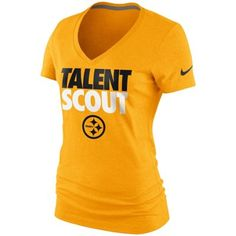33e975b8aa7 Nike Pittsburgh Steelers Ladies Talent Scout V-Neck T-Shirt - Gold