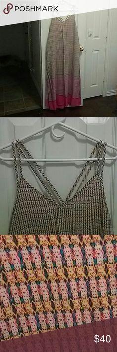 GAP Ikat Pink/Yellow Strappy Maxi 2 ikat prints. 4 criss cross straps. Side slits. Sooo SUPER CUTE! Has pockets, too! GAP Dresses Maxi