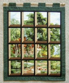 Sunday Quilt Inspiration: DOORS and WINDOWS Oh, wow! I want to try one of these attic window quilts Hanging Quilts, Quilted Wall Hangings, Patchwork Quilting, Quilting Projects, Quilting Designs, Quilting Ideas, Attic Window Quilts, Landscape Quilts, Panel Quilts