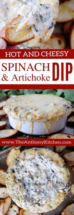 Cheesy Spinach Dip | A baked, cheesy spinach and artichoke dip, featuring freshly sauteed spinach, Fontina cheese, and marinated artichoke hearts. Addictively delicious and absolutely perfect potluck party food! | #partydip #spinachdip #spinachandartichokedip #bakeddip