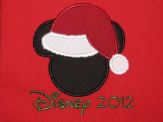 Christmas Mickey head personalized applique color T-shirt with one line of text for your Disney vacation